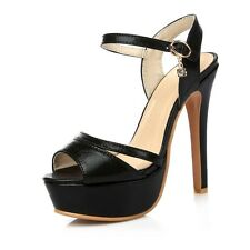 Women Super High Heel Ankle Strappy Stiletto Pumps Party Peep Toe platform Shoes