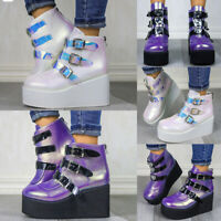 ❤️ Women's Chunky Platform Heel Ankle Boots Ladies Goth Punk Buckle Zip UP Shoes