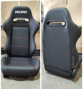 1x Recaro SR5 reclining seat,High quality PVC Leather, White stitching with logo