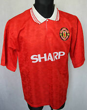 MANCHESTER UNITED FC VINTAGE 90s FOOTBALL JERSEY SHARP sz - M/L REPLICA?