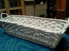 Long White  Wicker Basket - Wedding -  Christmas - Crafts - Decor  Floral 3490