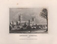 1845 ANTIQUE PRINT-DUGDALE- KENT - CANTERBURY CATHEDRAL