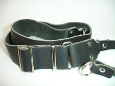 """LEATHER CAMERA NECK STRAP , with lug rings , Black , 1.25"""" wide, vintage,  #4030"""