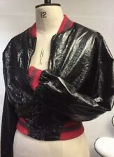SIZE 10 TO 12 MEDIUM ZARA PVC WET LOOK BLACK RED CROPPED BOMBER JACKET ZIPPED