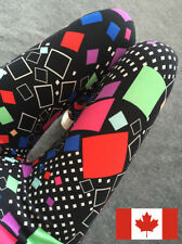 80's style colored squares extra soft leggings - S-M - abstract 80s geometric