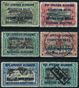 BELGIAN OCCUPATION OF EAST AFRICA 1919, 6 MINT & USED STAMPS.   #K616