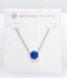 NEW Authentic KENDRA SCOTT 482 Rhodium Royal Blue Opal Davie Pendant Necklace