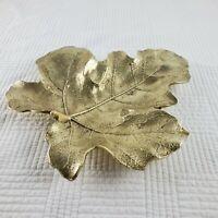 Vintage Virginia Metalcrafters Brass Fig Leaf Trinket Nut Tidbit Bowl Copyright