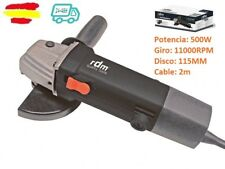 MINI AMOLADORA DISCO CORTADORA RADIAL 500W 115MM RDM TOOLS 11000RPM cable 2m