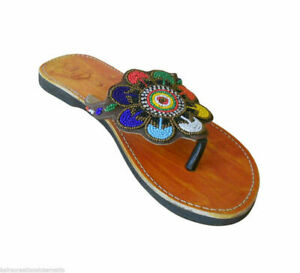 Women Slippers Traditional Beaded Leather Slip-Ons Indian Flip-Flops Flat US 6