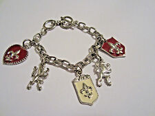 Red And Cream Epoxy Coating Silver Tone Renaissance Drops Toggle Clasp Beacelet