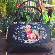 Liquorbrand Retro Tattoo Overnight Bag Retro Rockabilly Pin Up Travel Handbag