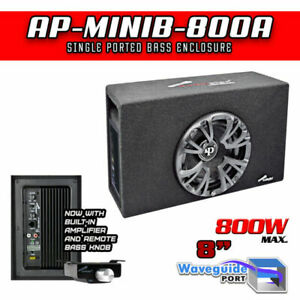 """Audiopipe AP-MINIB-800A 8"""" 500 Watt AMP Single Ported Bass Enclosure Black Loud"""