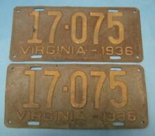 1936 Virginia License Plates Matched Pair low 5 digit number