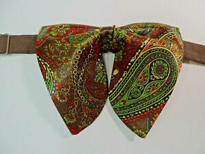 Oversized Brown Paisley Satin Bow tie Vintage style 70`s Wedding Prom Gift 4 Him