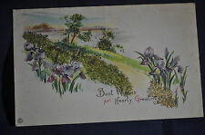 *EMBOSSED & GLASS SAND*Best Wishes & Hearty Greetings Postcard Stecker Litho Co.