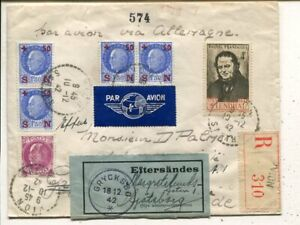 France reg air mail cover to Sweden 1942, remailed