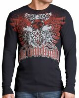 THROWDOWN Men's Black Ice Casual Knit Long Sleeve Crew Graphic Thermal Tee Shirt