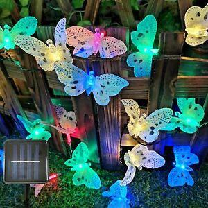 12 LED Solar Lichterkette Schmetterling Leuchte Garten Party Außen Beleuchtung