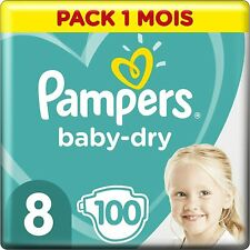 Pampers Baby Dry Couches Taille 8 (+17kg), 100 couches, Pack 1 Mois