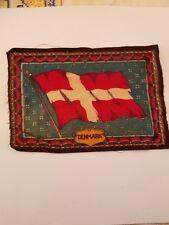 Vintage and Rare early 1900s Cigar Box Felt silk flag, Denmark