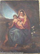 ancienne huile surtoile 19èmes femme et enfants GOYA grand peintre