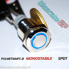 PULSANTE SPDT MONOSTABILE LED BLU 12V IP67 waterproof auto moto camper nautica