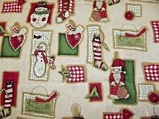 3 Yards of Primitive Christmas Snowmen Fabric David Textiles English Collection