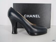 Chanel Navy Blue Black Leather Platform Heels Pumps 6 36 Italy EUC