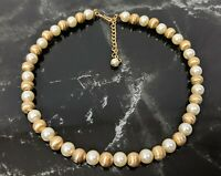 Lovely Vintage Napier Gold-tone Faux Pearls Beaded Chain Design Necklace Choker