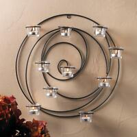 geometric round circle Black Artisanal Sconce WALL mount hurricane candle holder