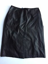 ESCADA Sport Black LEATHER Front Pencil Skirt Size 36
