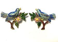 Blue Bird Pins Costume Jewelry Jvj05 True Vintage Set Of Two Enamel Rhinestone