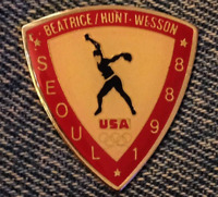 Softball Olympic Pin~Sponsor~Beatrice~Hunt~Wesson~1988 Seoul, Korea