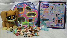 LITTLEST PET SHOP CARRYING CASE, WALKING DOG & 34 DOLLS WITH TIN BOX