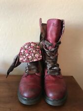 DOC DR MARTENS 1914 TRIUMPH Cherry Red Combat Boots FLORAL Fold Down US 9 UK 7