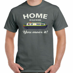 Home is Where You Moor it Mens Funny Narrow Boat T-Shirt Canal Barge Longboat