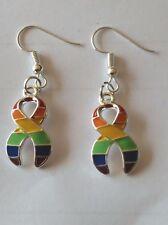 Silver Drop Dangle Earrings Lgbt Gay Pride Sterling