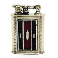 Vintage Evans Lift Arm Lighter GLASS ENAMEL Panel Black & Red - WORKING