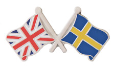 Sweden Flag & United Kingdom Flag Friendship Courtesy Pin Badge
