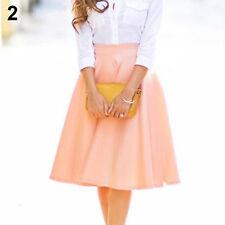 Womens Fashion High Waist A-Line Pleated Knee-Length Skirts Office Dress Welcome