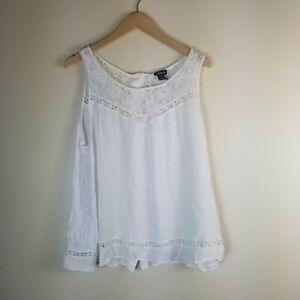 Torrid Women Tank White Gauze Lace Plus Size 2