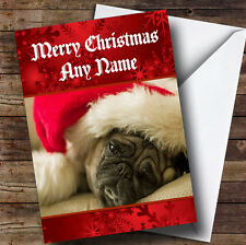 Pug Dog With Christmas Hat On Personalised Christmas Greetings Card
