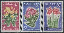 CAMBODGE N°104/106* Fleurs 1962,  CAMBODIA Flowers Sc#91-93 MLH