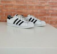 MENS ADIDAS SUPERSTAR WHITE BLACK 3 STRIPE TRAINERS SNEAKERS UK 5.5 EU 38.6 US 6