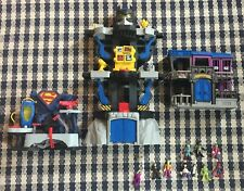 Imaginext DC Batman Transforming Batcave Gotham City Jail Superman Figures Lot