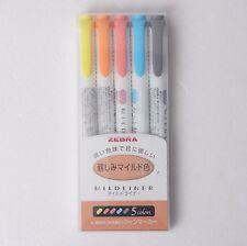 [Sale] ZEBRA Mildliner Soft Double-Sided Highlighter Pen 5 Color SET WKT7-N-5C
