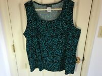 Woman's Just My Size plus size 4X sleeveless polyester blue multicolored top