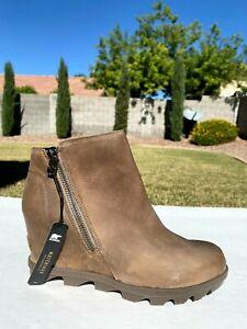 Sorel Joan of Arctic Wedge Side Zip Boots 9 Brown Leather Waterproof NEW $200