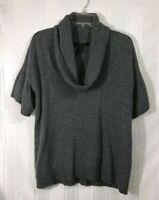 BCBGMaxAzria Gray Women's Size: M Lamb's Wool Short Sleeve Cowl Neck  Sweater